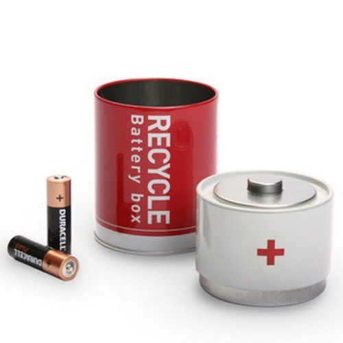 Recycle Battery Tin Box Used Batteries Waste Disposal Red By Monkey Business Http Www Amazon Com Dp B001u2w834 Ref Cm Sw R Recycling Recycle Box Tin Boxes