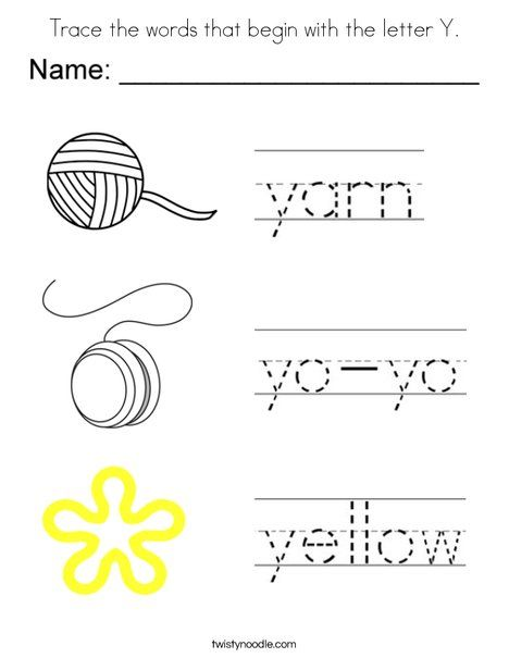 Trace the words that begin with the letter Y Coloring Page - Twisty ...