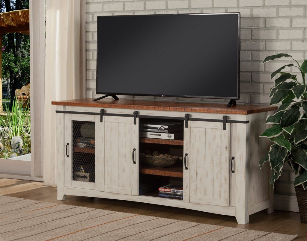 """65"""" Media Console Solid wood tv stand, White tv stands"""