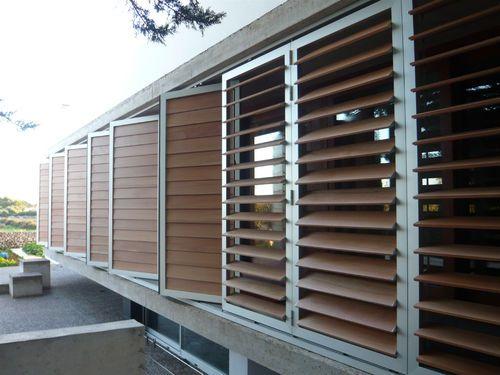 Pvc Solar Shading Composite In Wood Aluminum Dutec 145s Durmi Solar Shades Outdoor Blinds Facade Design