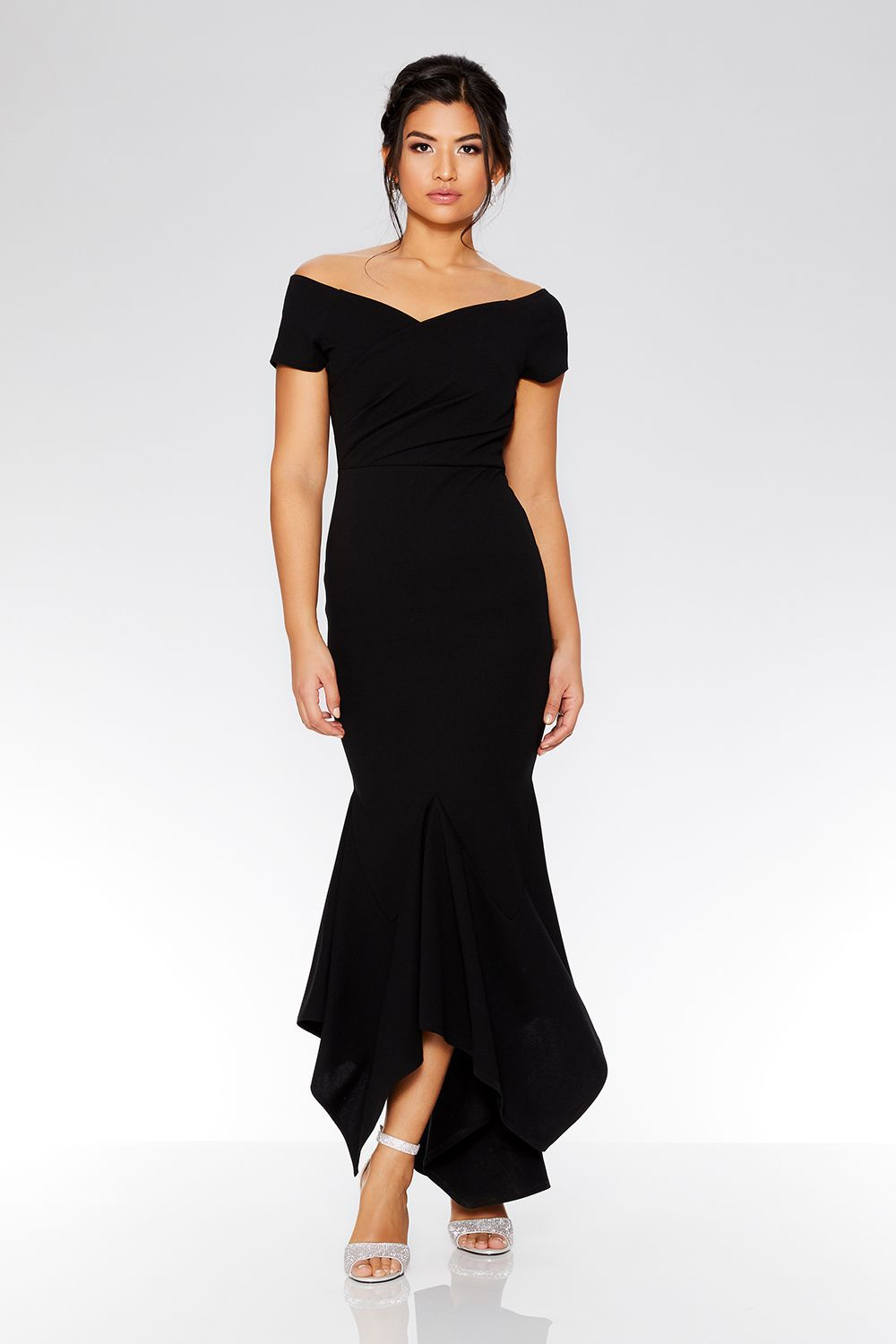 Black wrap bardot dip hem dress missmatched bridesmaid dresses