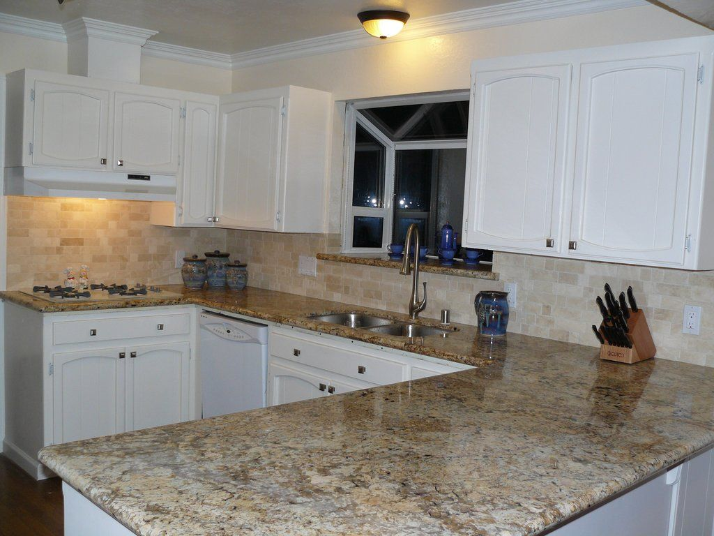 backsplash for black granite countertops | beige mexican tumbled