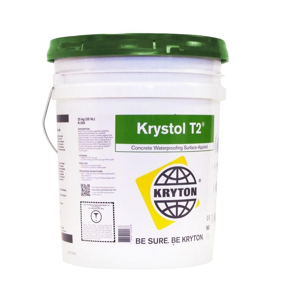 Krystol T2 5 gal. Surface Applied Crystalline Waterproofing for Concrete and Block, Grey In Color The Finish Will Take On The Contour And Texture Of What It Is Applied On To
