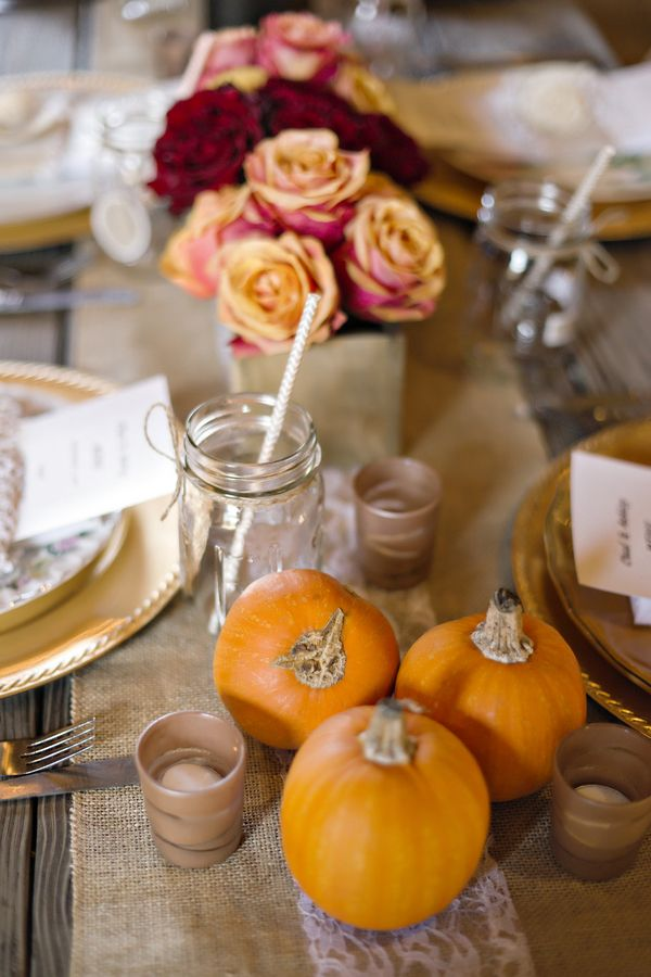 Mini Pumpkin Decor A Burlap & Lace Fall Wedding in Georgia Photographer: Andie Freeman Photography