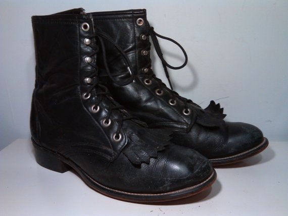ece986ad6eefb Vintage Womens Black Leather Justin Lacer Packer Granny Combat Boots ...