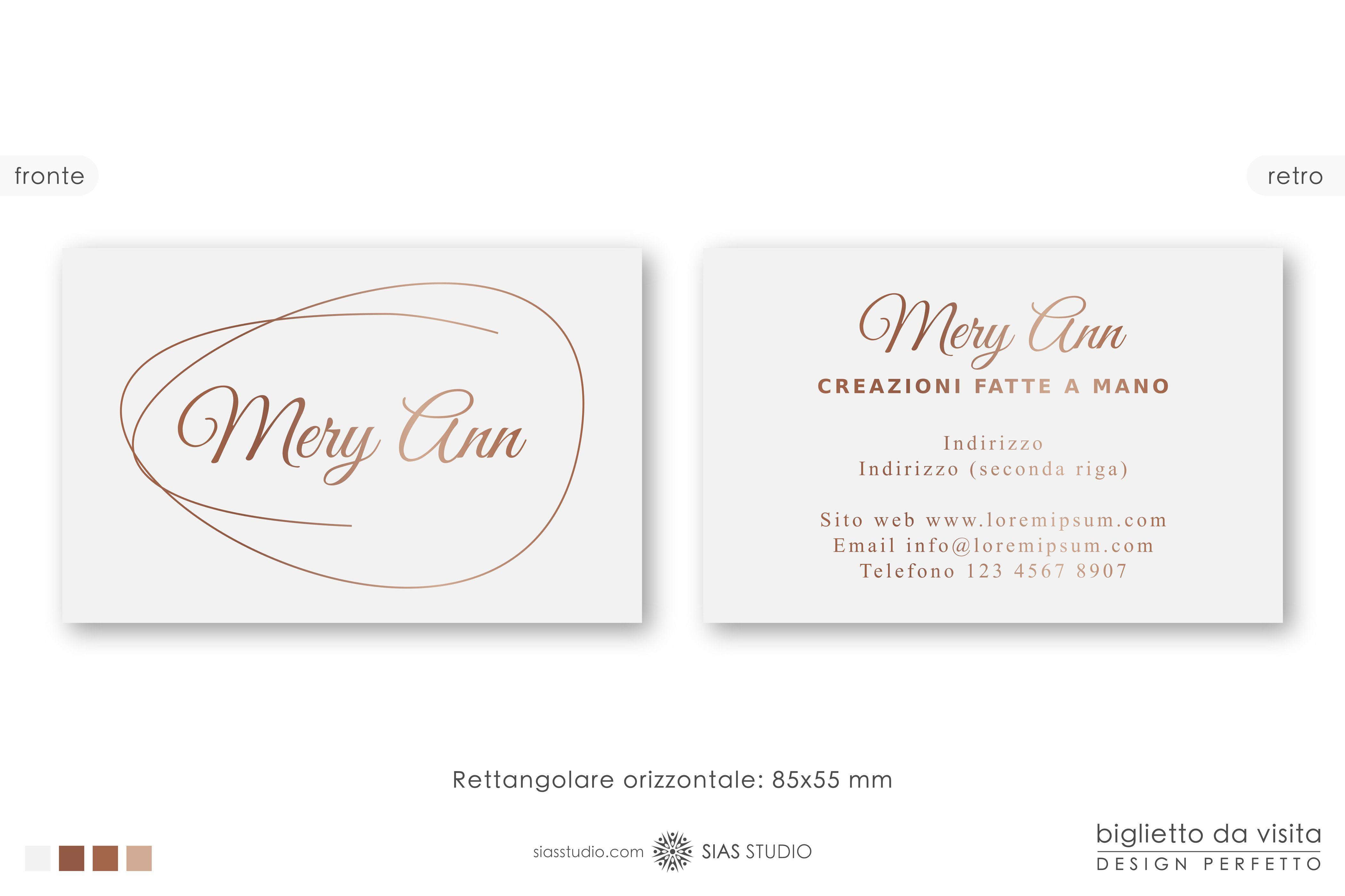 Modello Per Biglietto Da Visita Mery Ann Design Effetto Oro