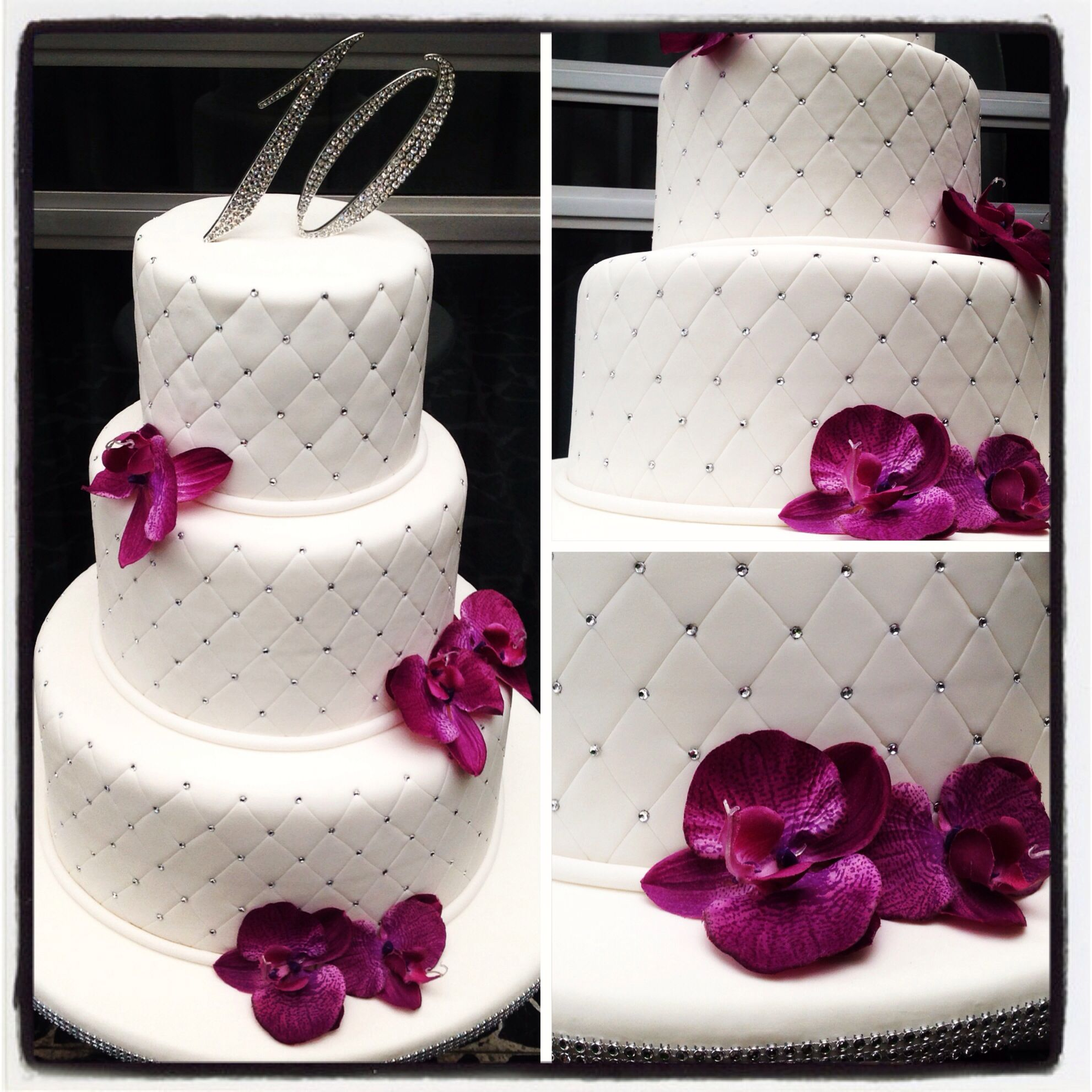10th Wedding Anniversary Party Ideas: 10th Anniversary Cake With Purple Orchids