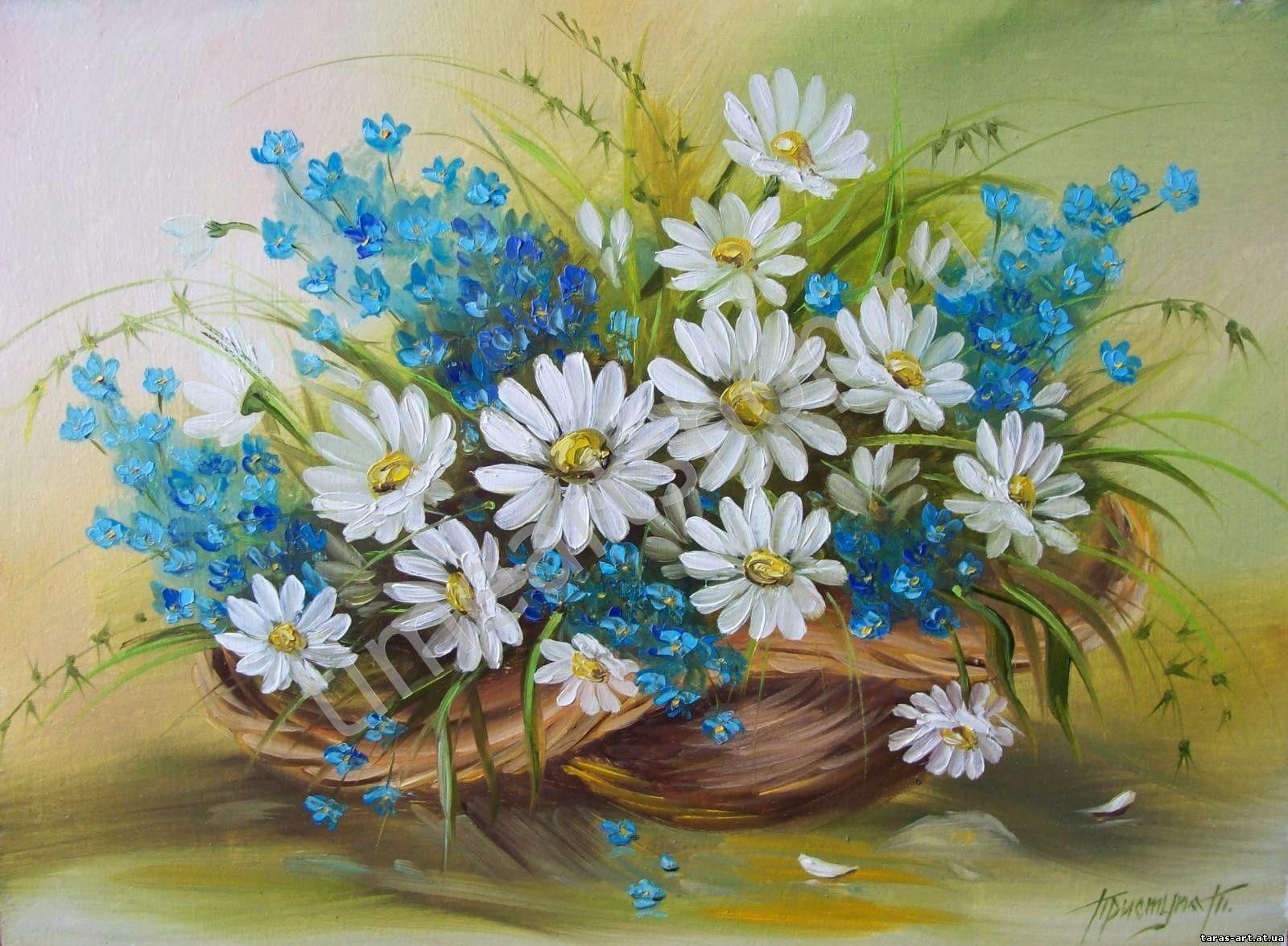 Корзинка с цветами, картина раскраска по номерам, картина ...