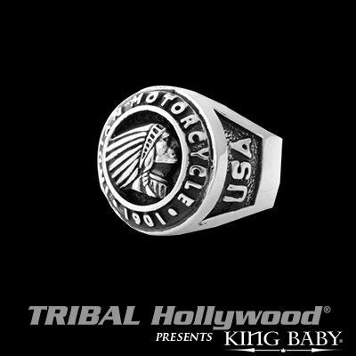 INDIAN MOTORCYCLE Logo Sterling Silver Mens Signet Ring by King Baby