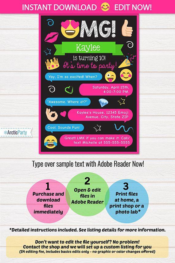 iMessage Girly invitations emoji party emoki party invitations – 11th Birthday Party Invitations