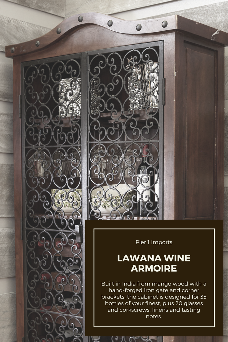 Lawana Wine Armoire.Mango Wood, Wrought Iron And Hand Forged. #wine