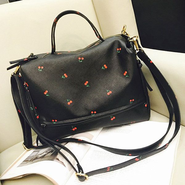 61af8f17f8f3 Hot-sale designer Women Cherry Printing Large Capacity Handbag Retro  Leisure Crossbody Bag Online - NewChic
