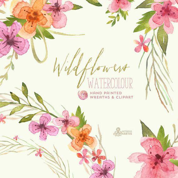 Wildflowers Watercolour Bouquets & Wreaths. Digital Clipart ...