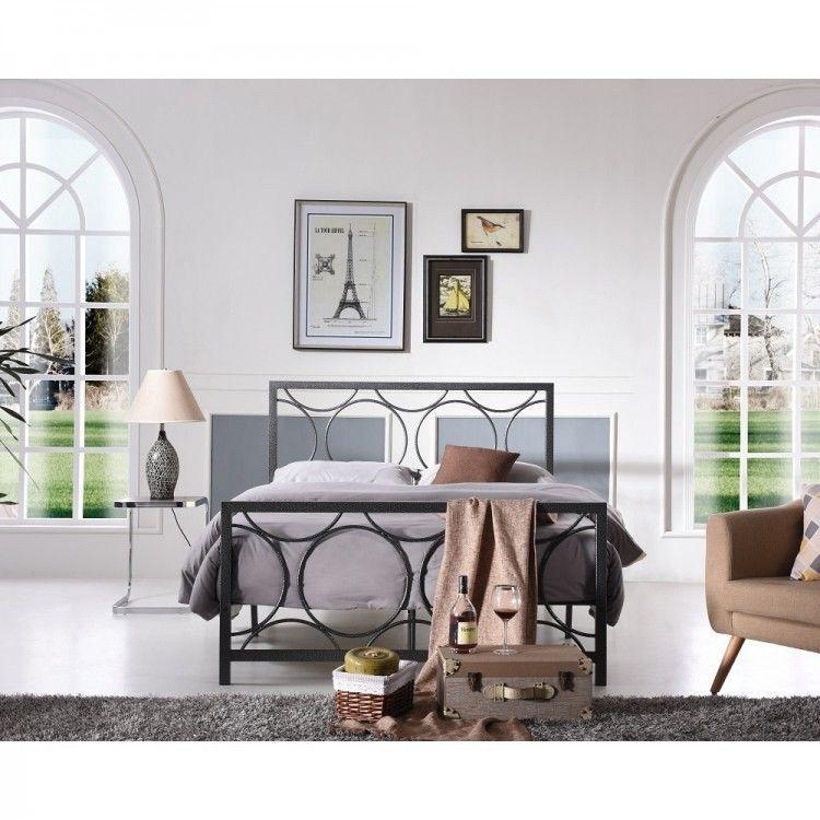Queen Size Metal Bed Frame Wrought Iron Modern Black Platform Circles Furnture Queensizemetalbedframe Modern Panel Bed Frames Full Bed Frame Bed Frame