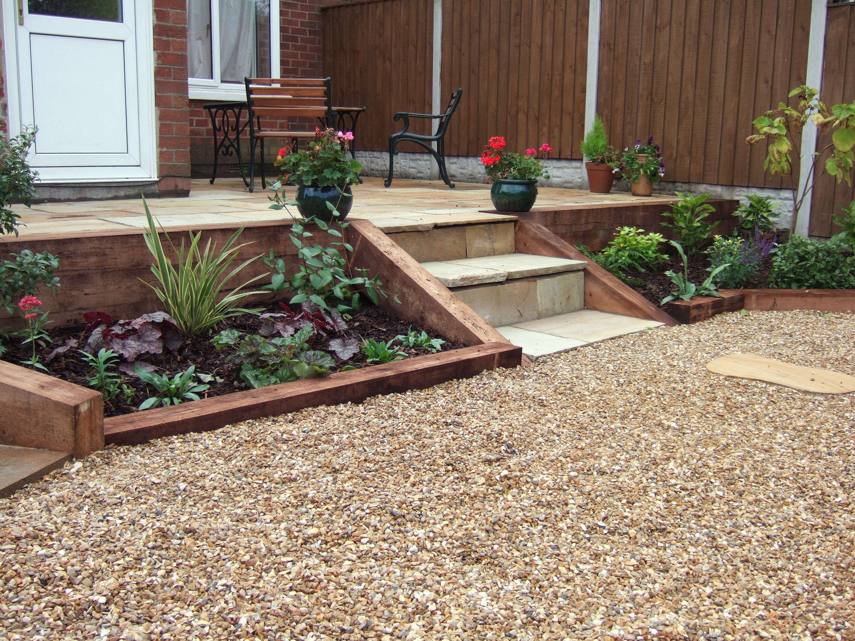Sloping Garden Leveled Out Using New Sleepers For Retaining Wall