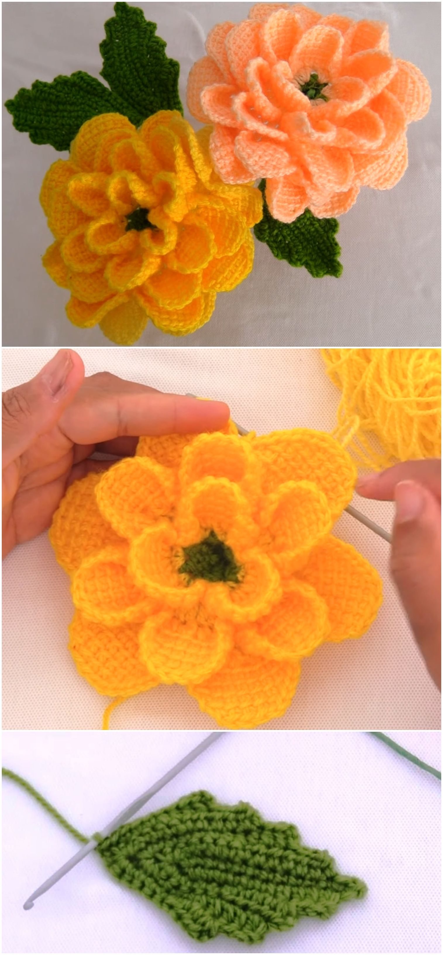 Crochet 3 D Rose Flower With Leaves - Crochet Ideas #crochetflowers