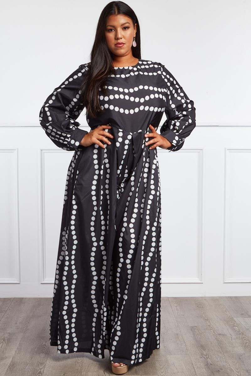 0ed802aff97 PLUS SIZE LEAD THE WAY LONG-SLEEVE GEOMETRIC JUMPSUIT  63.99  ootd  style   fashion  streetstyle  fashionable  outfitpost  trendy  beauty  moda   plussize ...