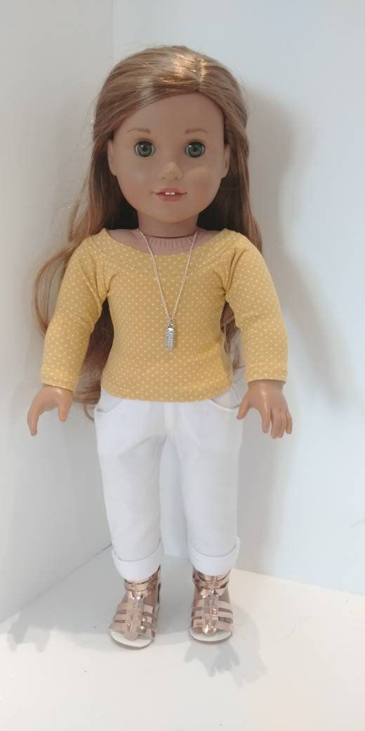 Fits like American girl doll clothes .18 inch doll clothes. 18 inch doll clothing. Gold dot shirt #18inchdollsandclothes