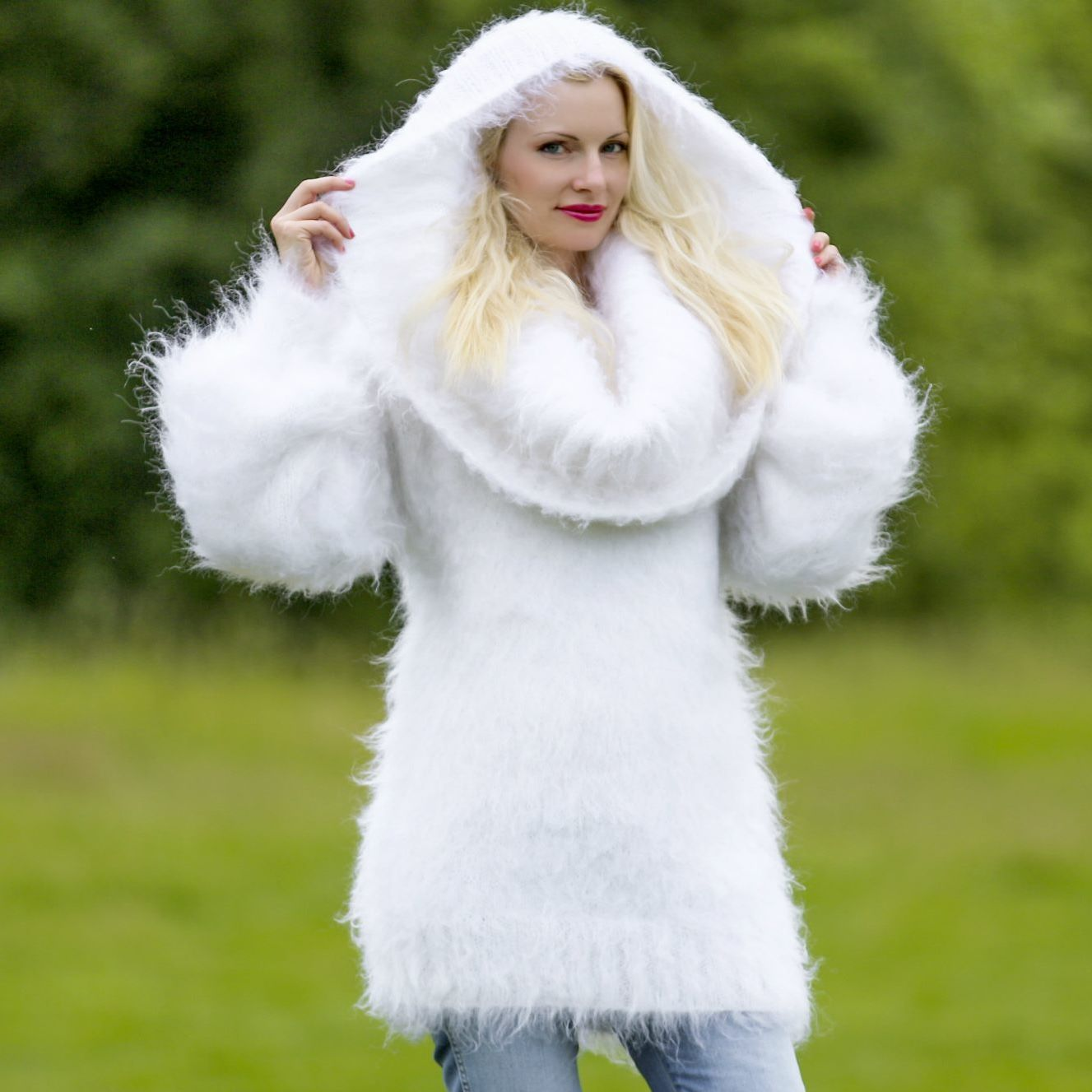 100% hand knitted fuzzy mohair sweater dress in white, size S, M ...