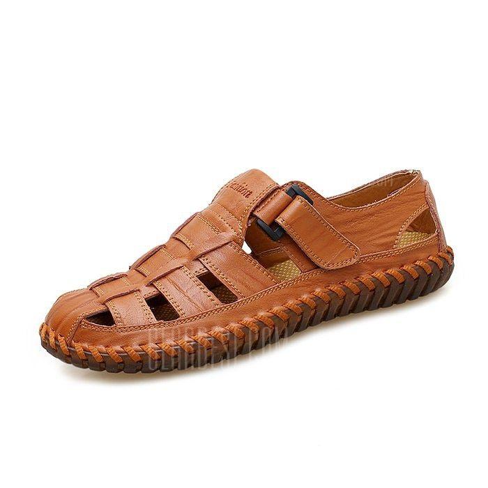 4dd4f8573 Men Stylish Breathable Plus Size Leather Sandals