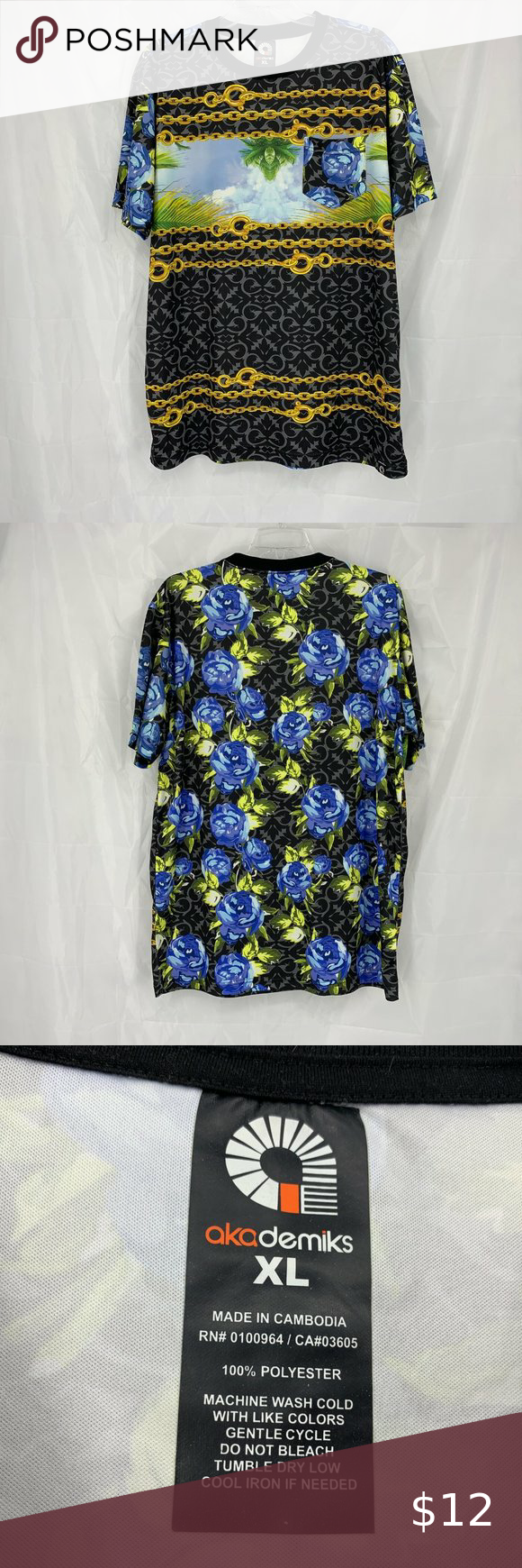 Akademiks Size XL Black/Blue Short Sleeve Shirt Akademiks Size: X-Large Blue/Black Crew Neck Short Sleeve Floral Chain Print 100% Polyester Measurements: Chest: 23.5