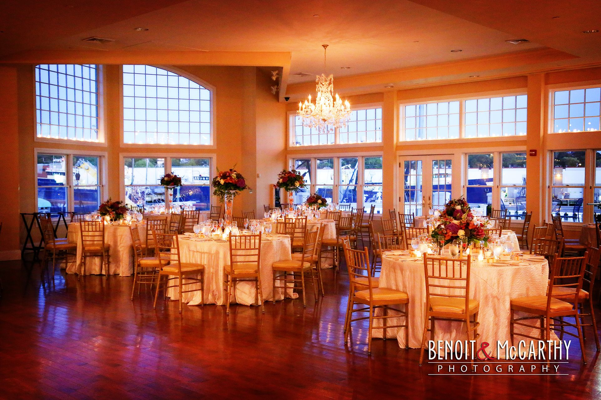 cruiseport gloucester grand ballroom ready for a wedding