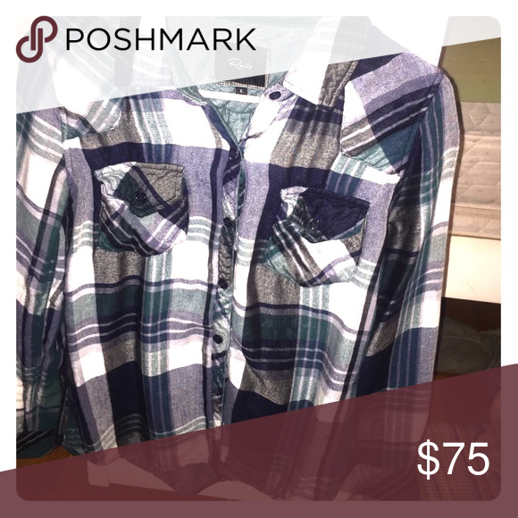 Rails flannel Green, white and black flannel, lightly worn Tops Button Down Shirts