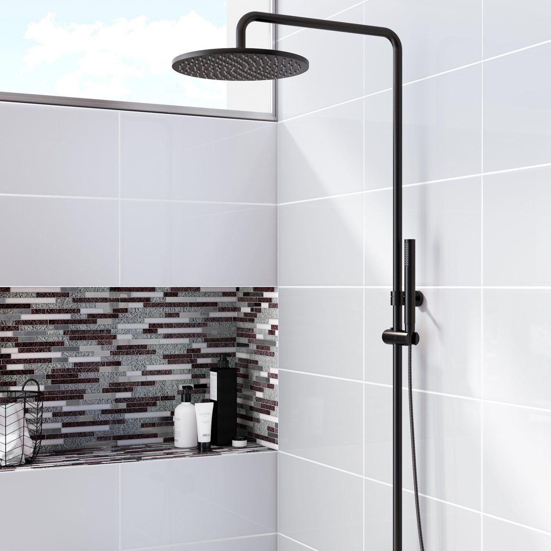 Mosaique Brillante Glossy Metallique Idee Salle De Bain Salle De Bains Carrelage Blanc Mur Gris