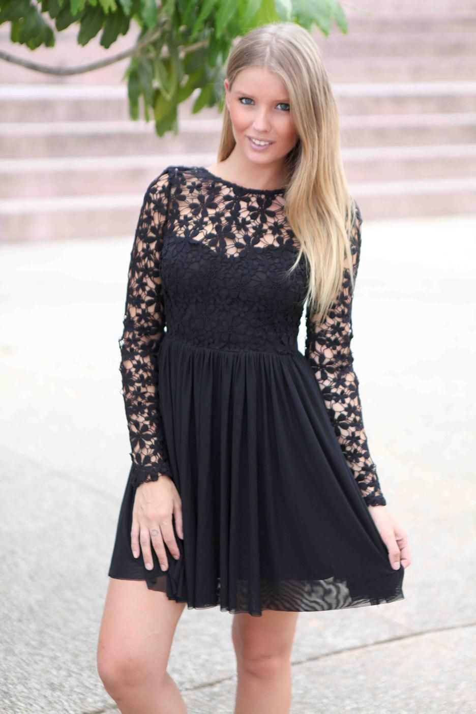 LBD Floral Embroidered Long Sleeve Dress #tulle #partydress #cocktaildress #crochet