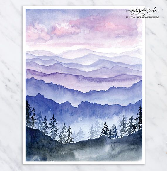 Blue Ridge Mountains Print Mountain Wall Art Mountain Watercolor