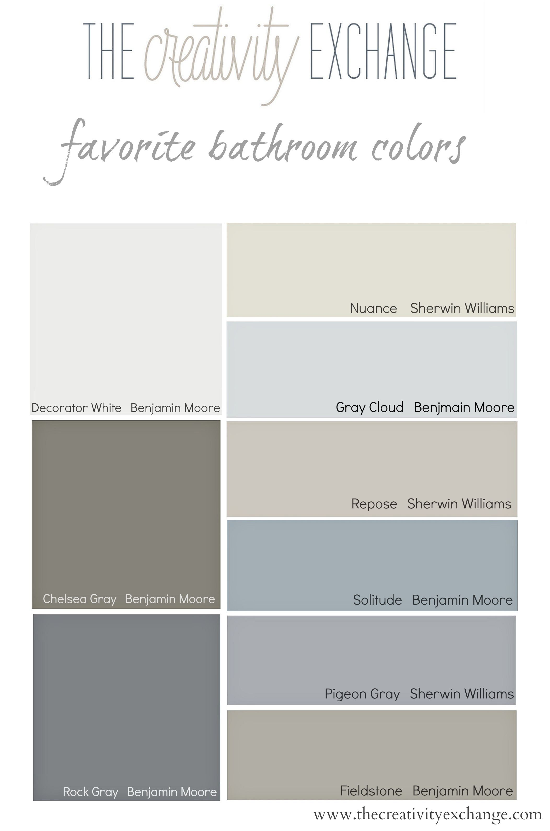 Favorite bathroom wall and cabinet colors paint it monday for Popular gray paint colors