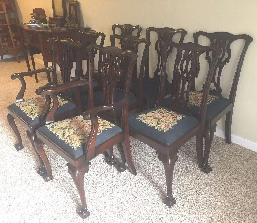 Eight 8 Solid Mahogany Chippendale Ball And Claw, Carved Dining Room Chairs,  Set #Chippendale