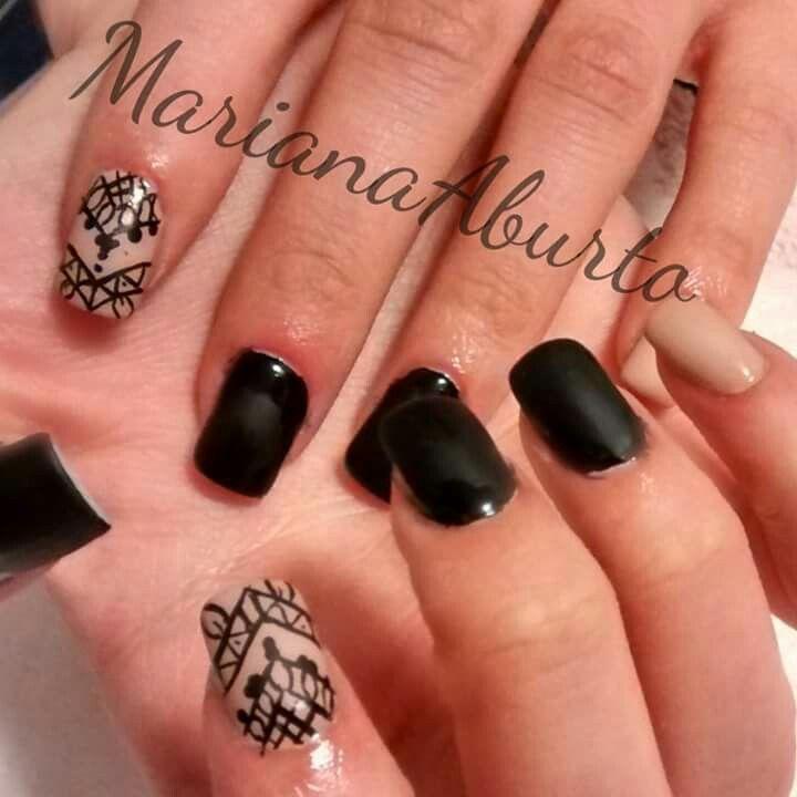 Black Nude Matte Tribal Nails Nail Art Pinterest