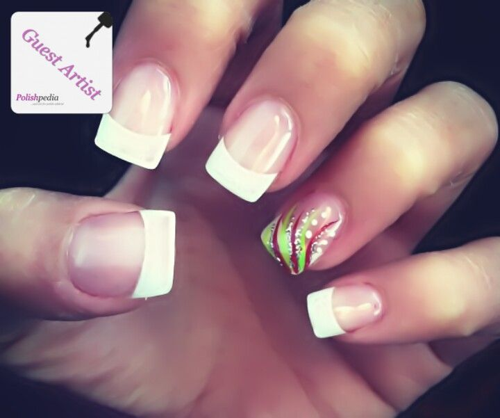 Cute White Tips With Design White Tip Nails Floral Nails Simple Nails