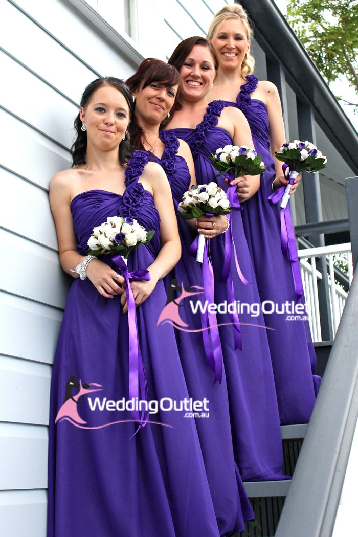 Cadbury Purple Bridesmaid Dresses Wedding Theme