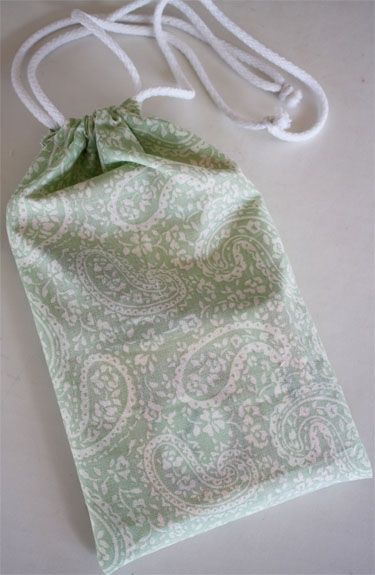 Easy drawstring bags, a good tutorial. I used this tutorial to ...
