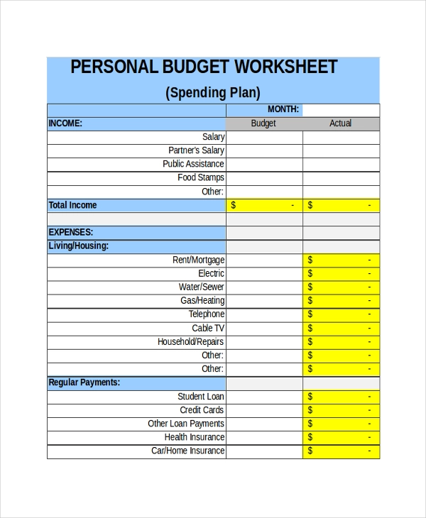 21+ Free Sheet Templates (With images) Budgeting