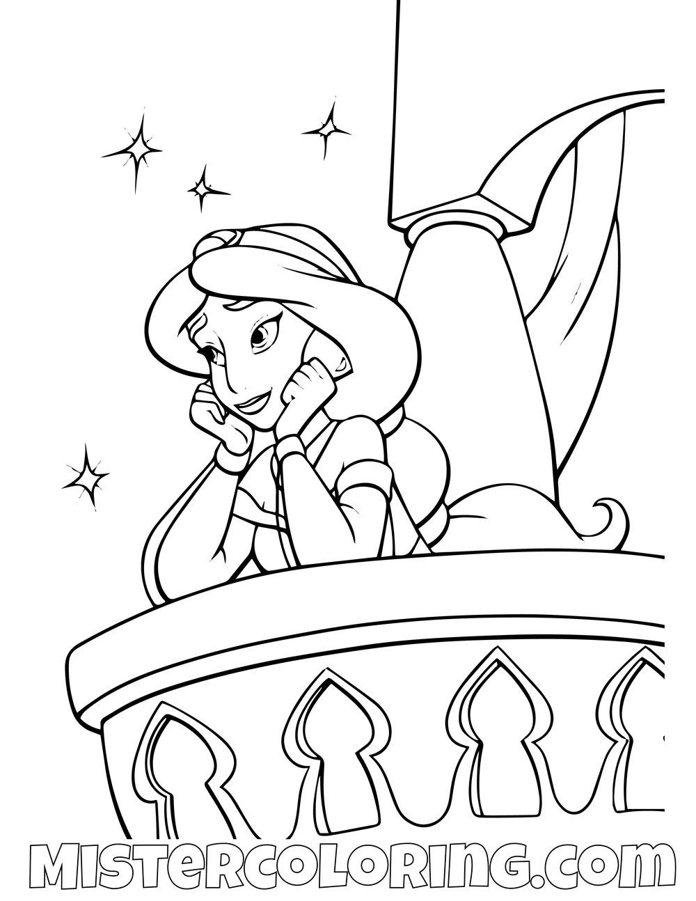 Free Disney Princess Coloring Pages Jasmine, Download Free Clip ... | 1294x1000