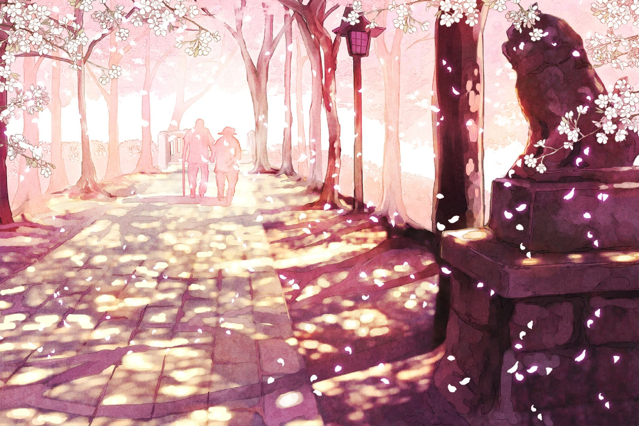 Sakura Anime Scenery Wallpaper Desktop 52782 Seni Animasi