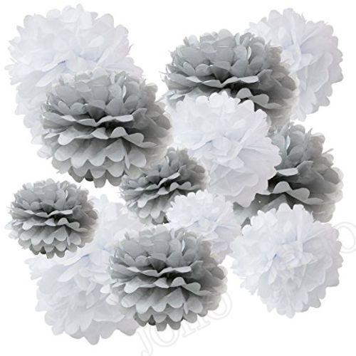 12pcs grey and white tissue paper flower pom poms pompoms set2 12pcs grey and white tissue paper flower pom poms pompoms set2 colors mightylinksfo