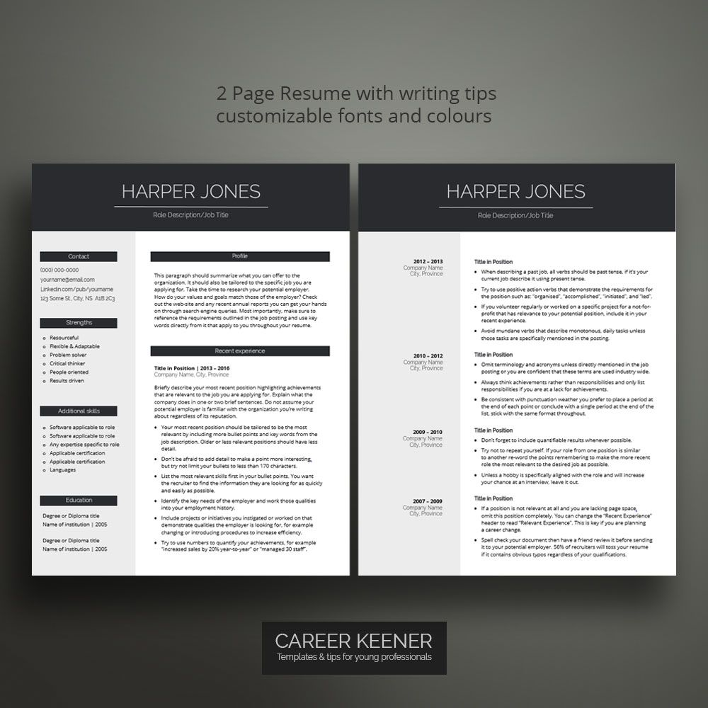 Professional resume template 2 page chronological resume