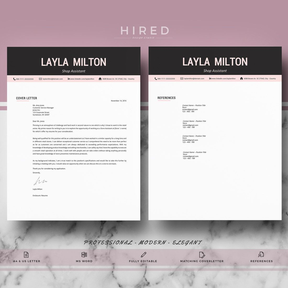 Modern Resume Template  Resume Template For Ms Word  Cv Template