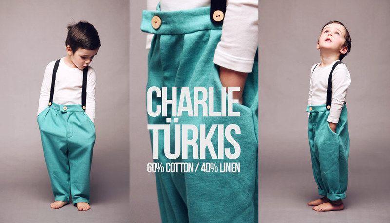 CHARLIE - Kinderhose mit Hosenträgern - Türkis von Fratellino - Kindersachen made in Germany auf DaWanda.com