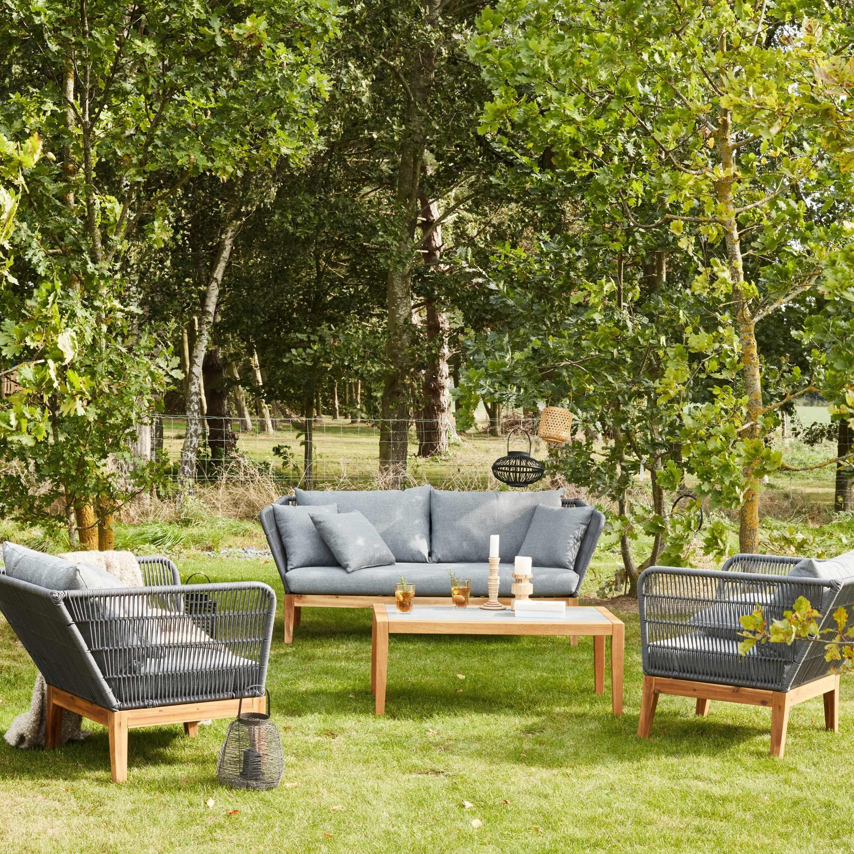 Salon Bas De Jardin Kythnos Bois Marron 5 Personnes Agrement De