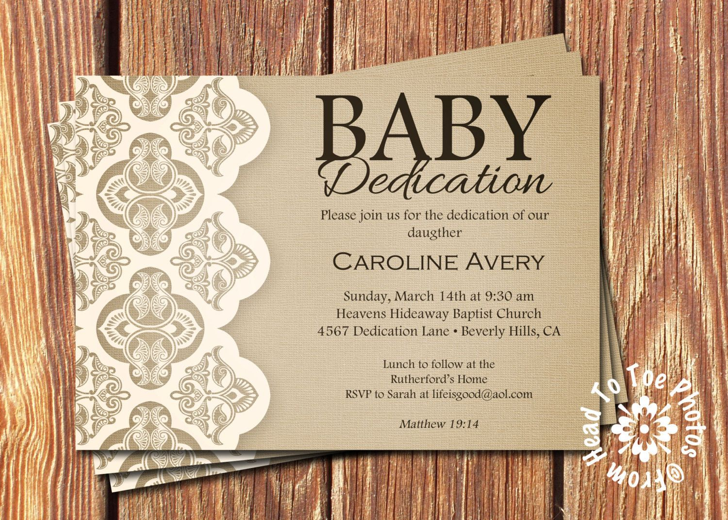 Baby Dedication Invitations by FromHeadtoToeDesigns on Etsy | Baby ...