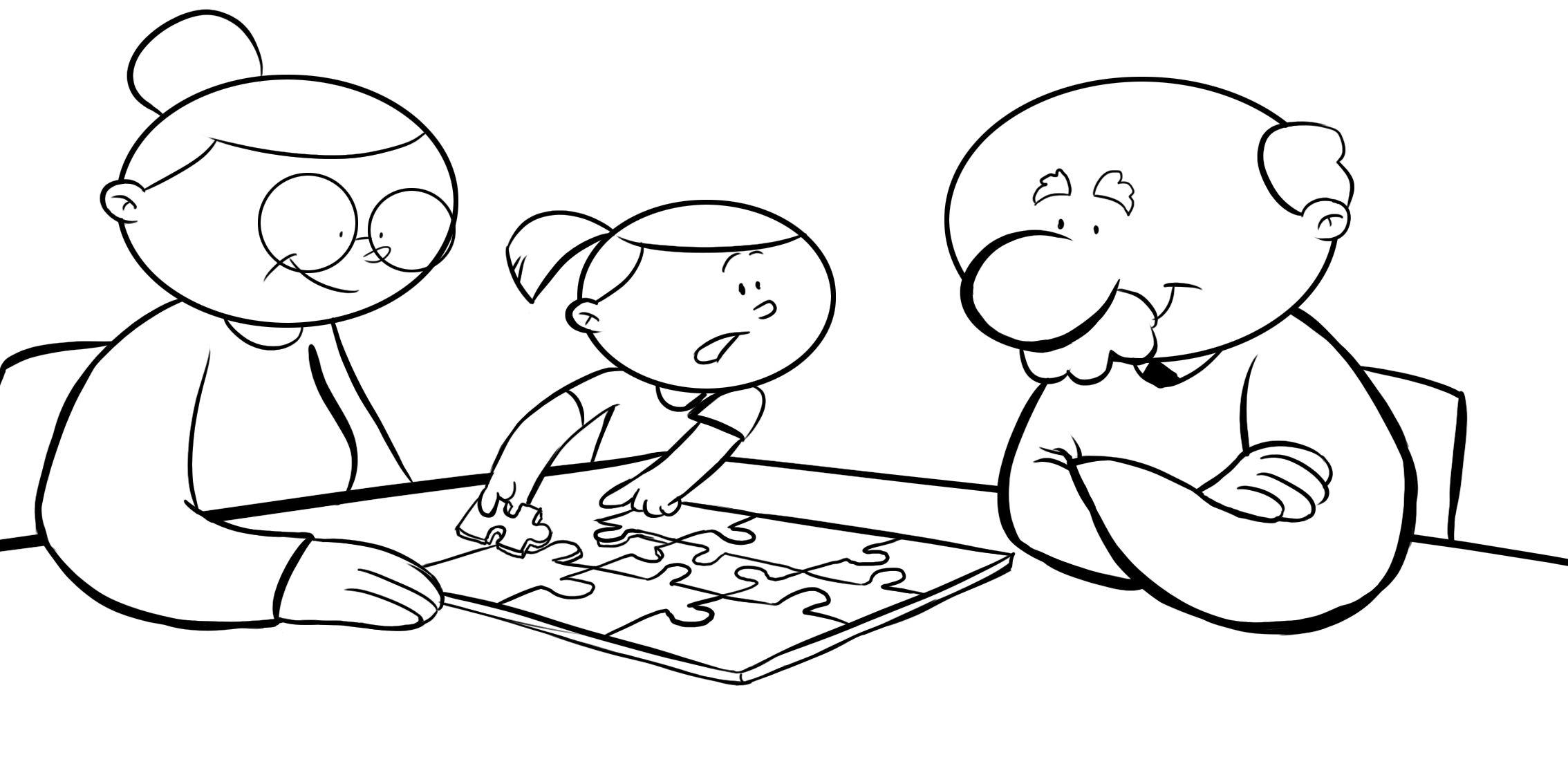 Dibujos con niños: Colorear abuelos haciendo un puzzle con su nieta ...
