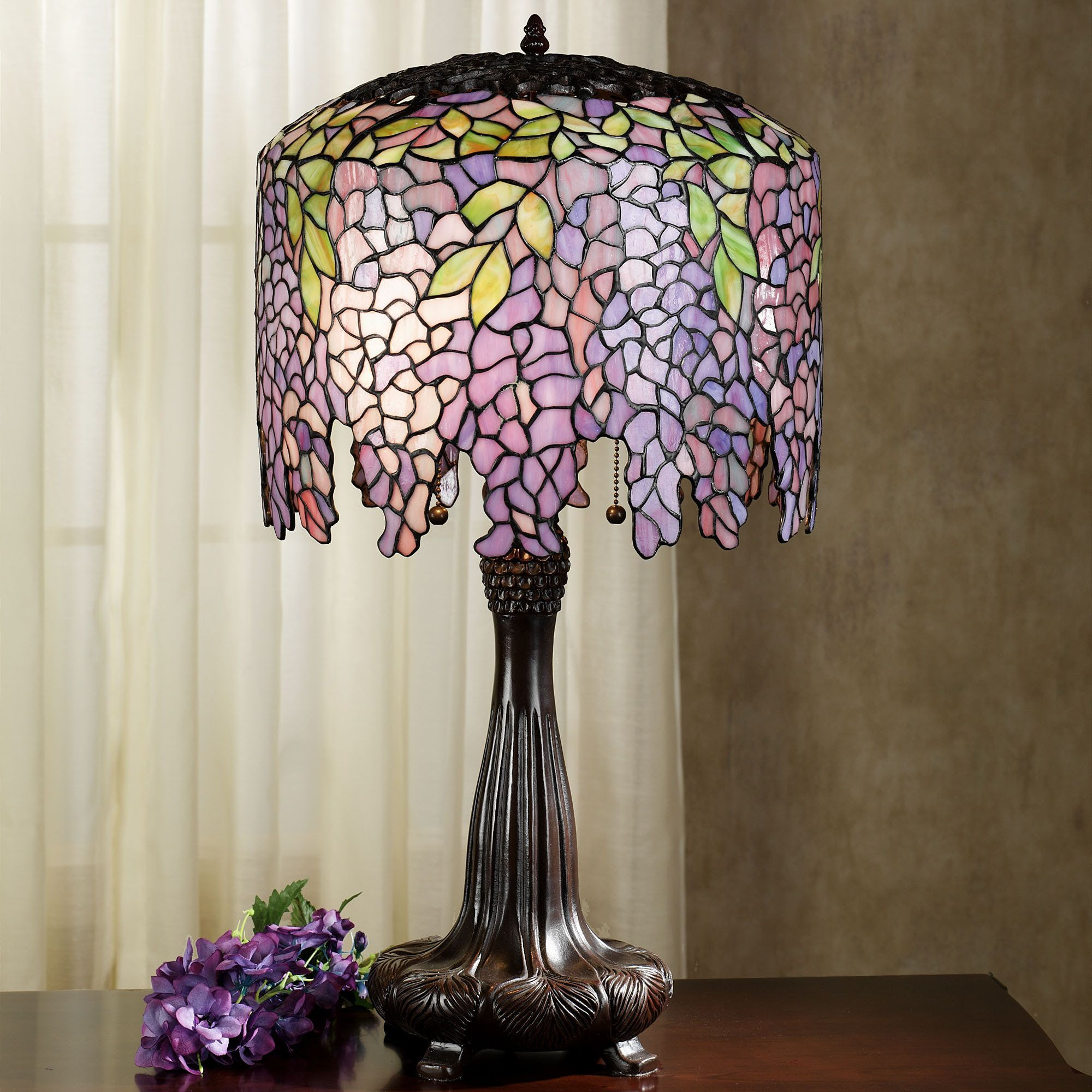 The Handcrafted Wisteria Stained Glass Table Lamp Adds A Unique