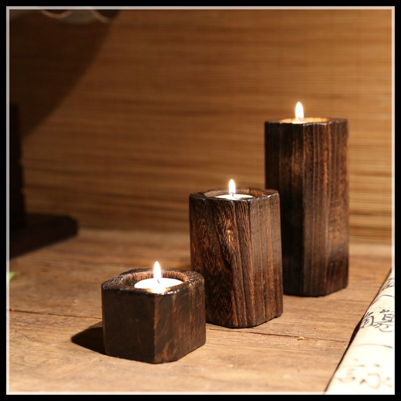 US $10.86 11% OFF|Wooden Candlestick Candle Holder