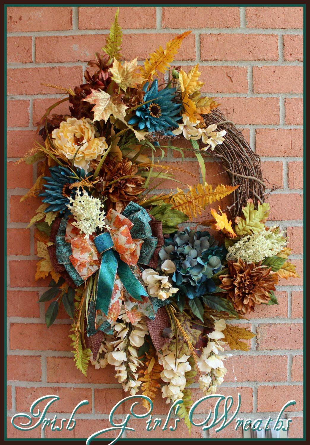 Tuscan Autumn Teal Beauty Wreath, Gold, Ivory, Brown XXL Wreath, Luxury,
