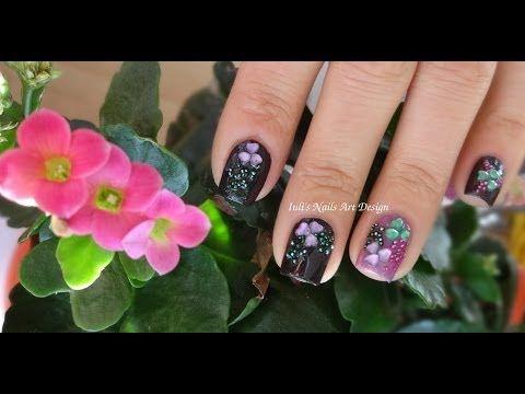 valentine day heart shape flowers rhinestones nail art